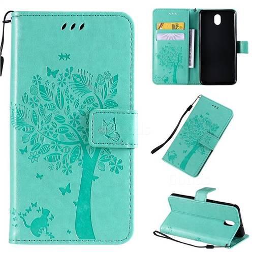 Embossing Butterfly Tree Leather Wallet Case for LG K30 (2019) 5.45 inch - Cyan