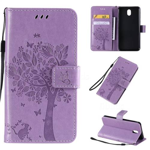 Embossing Butterfly Tree Leather Wallet Case for LG K30 (2019) 5.45 inch - Violet