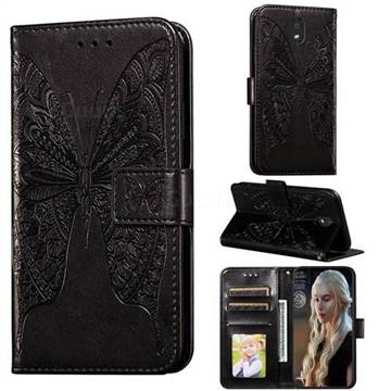 Intricate Embossing Vivid Butterfly Leather Wallet Case for LG K30 (2019) 5.45 inch - Black