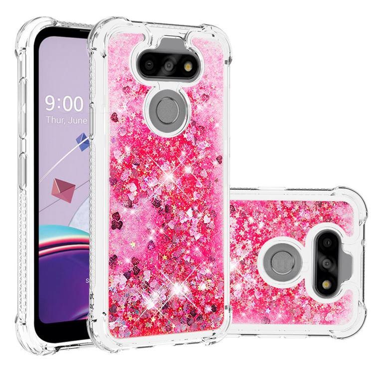 Dynamic Liquid Glitter Sand Quicksand TPU Case for LG K31 - Pink Love Heart