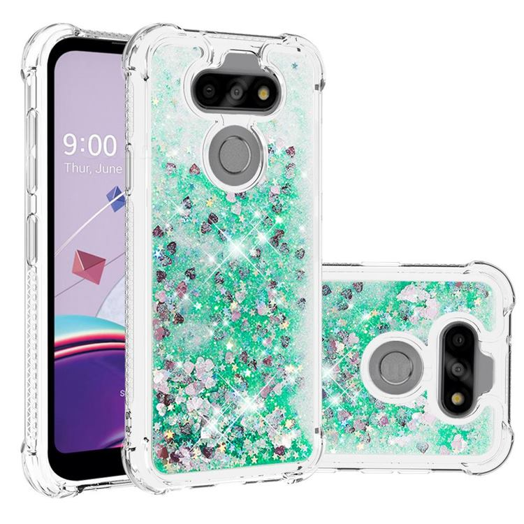 Dynamic Liquid Glitter Sand Quicksand TPU Case for LG K31 - Green Love Heart