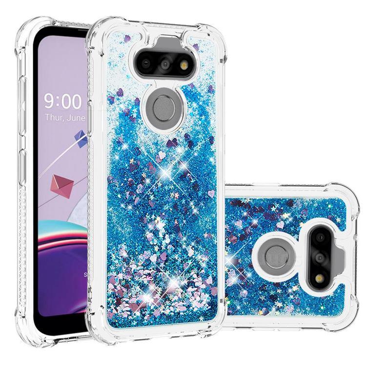 Dynamic Liquid Glitter Sand Quicksand TPU Case for LG K31 - Blue Love Heart