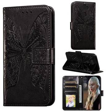 Intricate Embossing Vivid Butterfly Leather Wallet Case for LG K31 - Black
