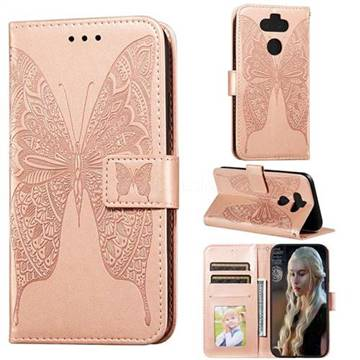Intricate Embossing Vivid Butterfly Leather Wallet Case for LG K31 - Rose Gold