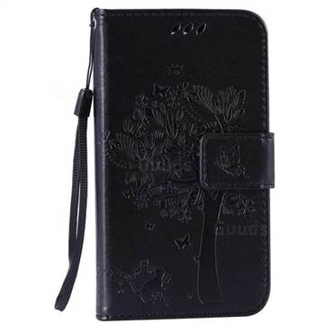 Embossing Butterfly Tree Leather Wallet Case for LG K4 - Black