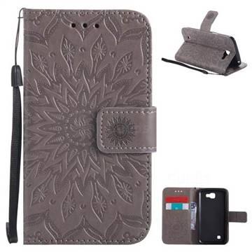Embossing Sunflower Leather Wallet Case for LG K4 - Gray