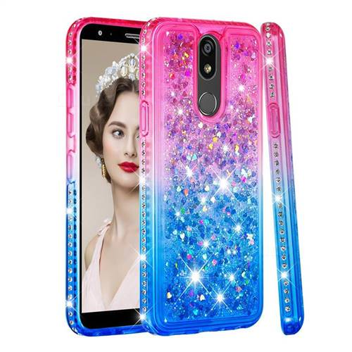 Diamond Frame Liquid Glitter Quicksand Sequins Phone Case for LG K40 (LG K12+, LG K12 Plus) - Pink Blue