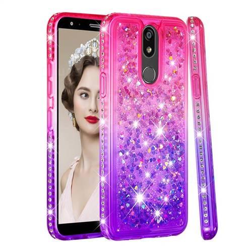 Diamond Frame Liquid Glitter Quicksand Sequins Phone Case for LG K40 (LG K12+, LG K12 Plus) - Pink Purple