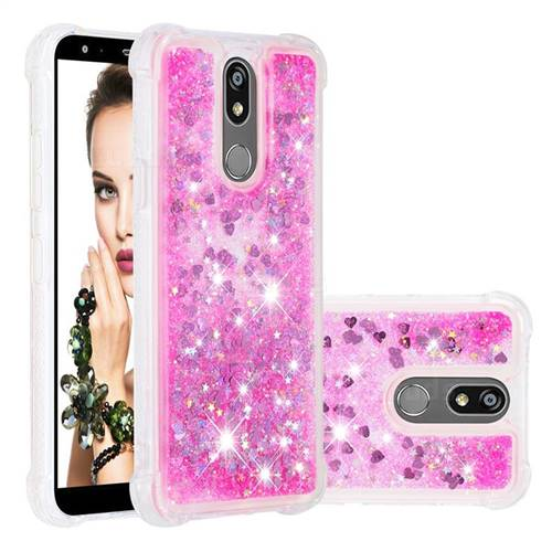 Dynamic Liquid Glitter Sand Quicksand TPU Case for LG K40 (LG K12+, LG K12 Plus) - Pink Love Heart