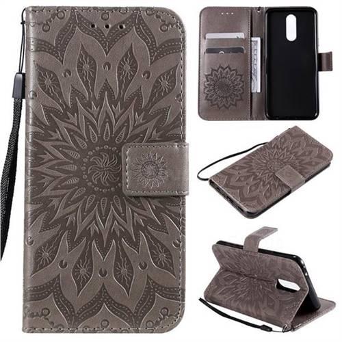 Embossing Sunflower Leather Wallet Case for LG K40 (LG K12+, LG K12 Plus) - Gray