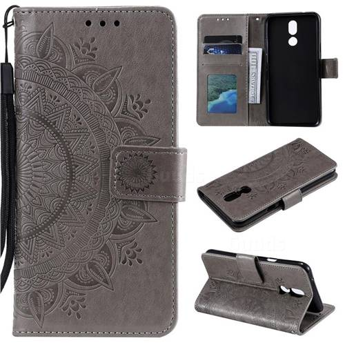 Intricate Embossing Datura Leather Wallet Case for LG K40 (LG K12+, LG K12 Plus) - Gray