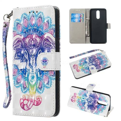 Colorful Elephant 3D Painted Leather Wallet Phone Case for LG K40 (LG K12+, LG K12 Plus)