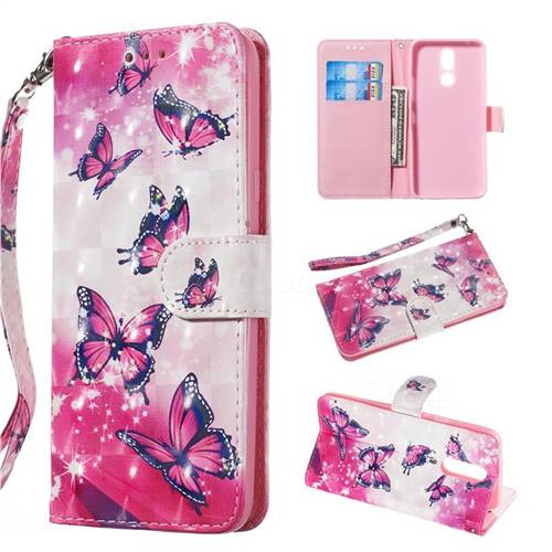 Pink Butterfly 3D Painted Leather Wallet Phone Case for LG K40 (LG K12+, LG K12 Plus)