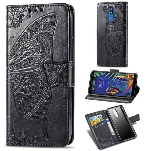 Embossing Mandala Flower Butterfly Leather Wallet Case for LG K40 (LG K12+, LG K12 Plus) - Black
