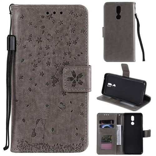 Embossing Cherry Blossom Cat Leather Wallet Case for LG K40 (LG K12+, LG K12 Plus) - Gray