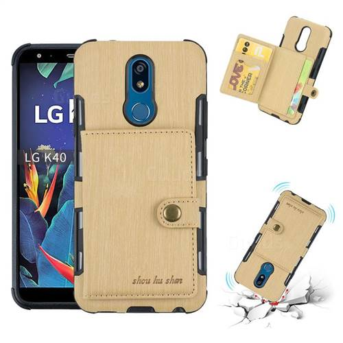 Brush Multi-function Leather Phone Case for LG K40 (LG K12+, LG K12 Plus) - Golden