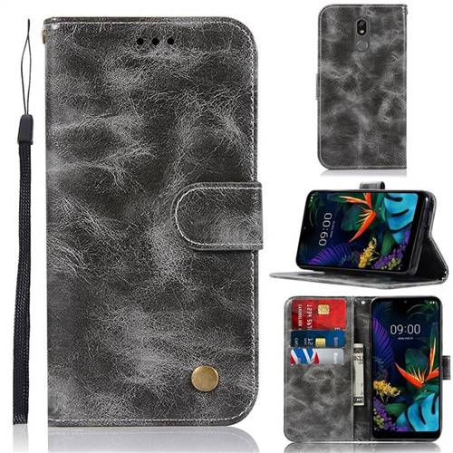 Luxury Retro Leather Wallet Case for LG K40 (LG K12+, LG K12 Plus) - Gray