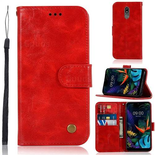 Luxury Retro Leather Wallet Case for LG K40 (LG K12+, LG K12 Plus) - Red
