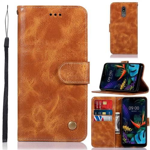 Luxury Retro Leather Wallet Case for LG K40 (LG K12+, LG K12 Plus) - Golden