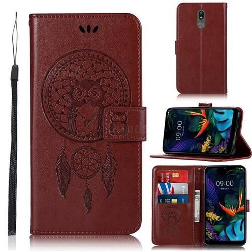 Intricate Embossing Owl Campanula Leather Wallet Case for LG K40 (LG K12+, LG K12 Plus) - Brown
