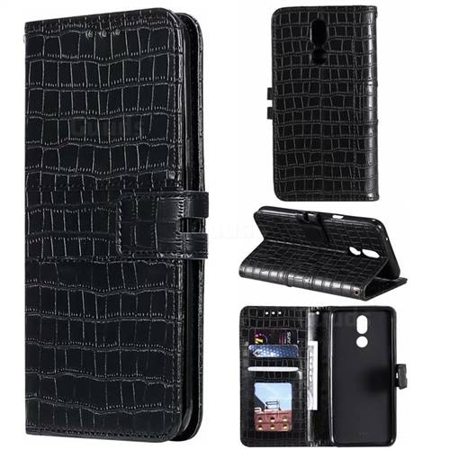 Luxury Crocodile Magnetic Leather Wallet Phone Case for LG K40 (LG K12+, LG K12 Plus) - Black