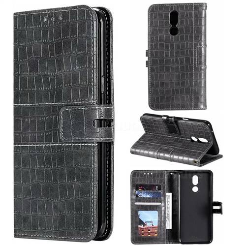 Luxury Crocodile Magnetic Leather Wallet Phone Case for LG K40 (LG K12+, LG K12 Plus) - Gray