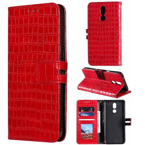 Luxury Crocodile Magnetic Leather Wallet Phone Case for LG K40 (LG K12+, LG K12 Plus) - Red