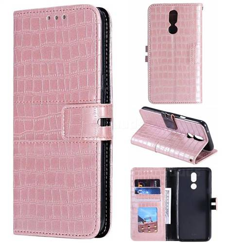 Luxury Crocodile Magnetic Leather Wallet Phone Case for LG K40 (LG K12+, LG K12 Plus) - Rose Gold