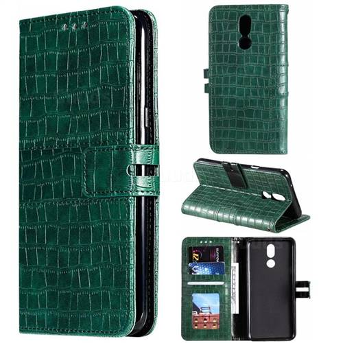 Luxury Crocodile Magnetic Leather Wallet Phone Case for LG K40 (LG K12+, LG K12 Plus) - Green