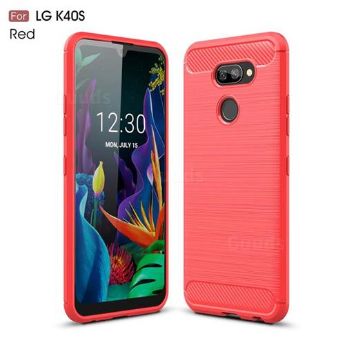 Luxury Carbon Fiber Brushed Wire Drawing Silicone TPU Back Cover for LG K40S - Red