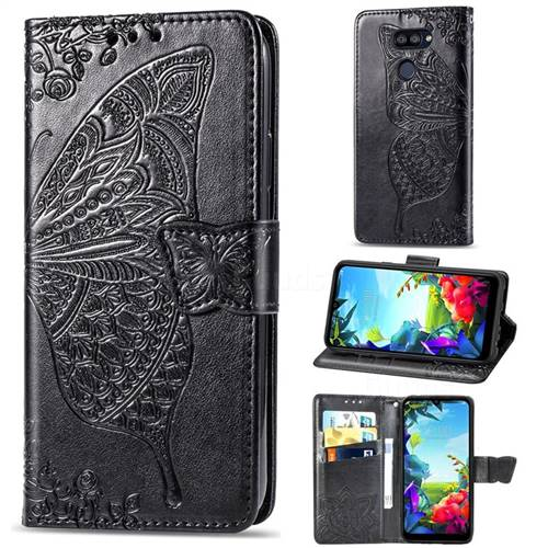 Embossing Mandala Flower Butterfly Leather Wallet Case for LG K40S - Black