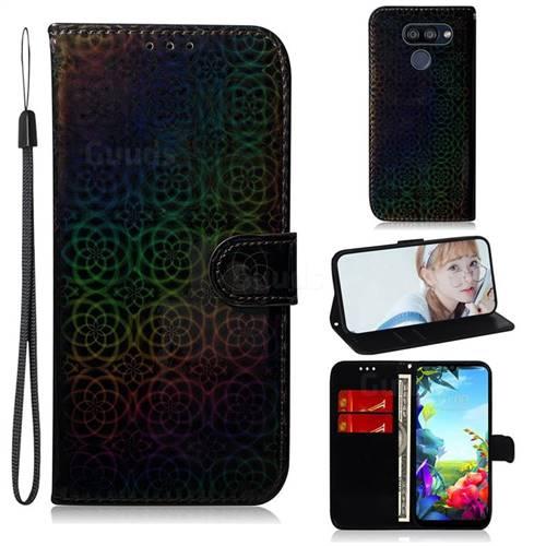 Laser Circle Shining Leather Wallet Phone Case for LG K40S - Black