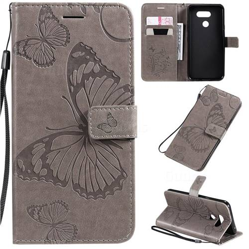 Embossing 3D Butterfly Leather Wallet Case for LG K40S - Gray