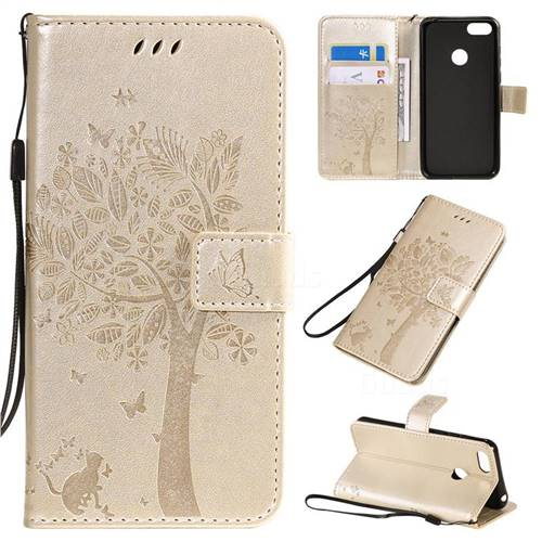 Embossing Butterfly Tree Leather Wallet Case for LG K40S - Champagne