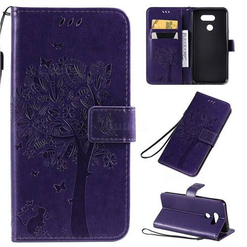 Embossing Butterfly Tree Leather Wallet Case for LG K40S - Purple