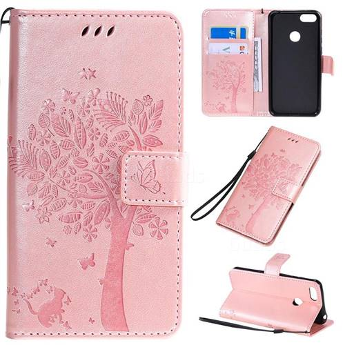 Embossing Butterfly Tree Leather Wallet Case for LG K40S - Rose Pink