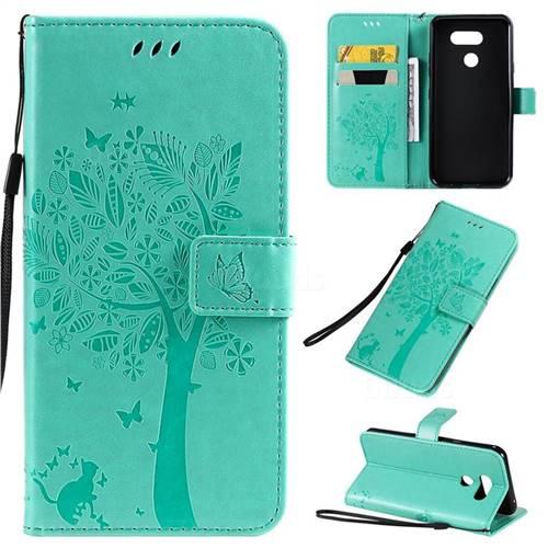 Embossing Butterfly Tree Leather Wallet Case for LG K40S - Cyan