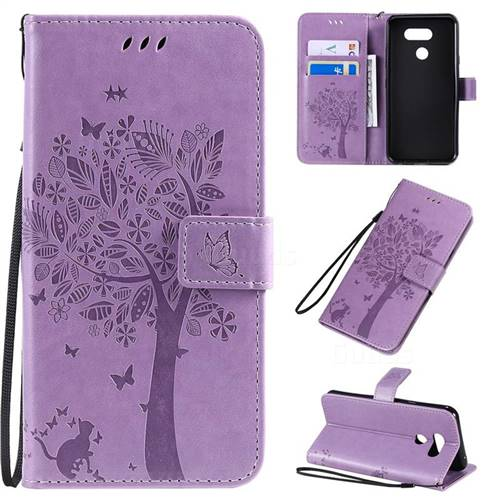 Embossing Butterfly Tree Leather Wallet Case for LG K40S - Violet