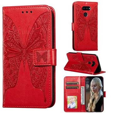 Intricate Embossing Vivid Butterfly Leather Wallet Case for LG K40S - Red