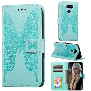 Intricate Embossing Vivid Butterfly Leather Wallet Case for LG K40S - Green