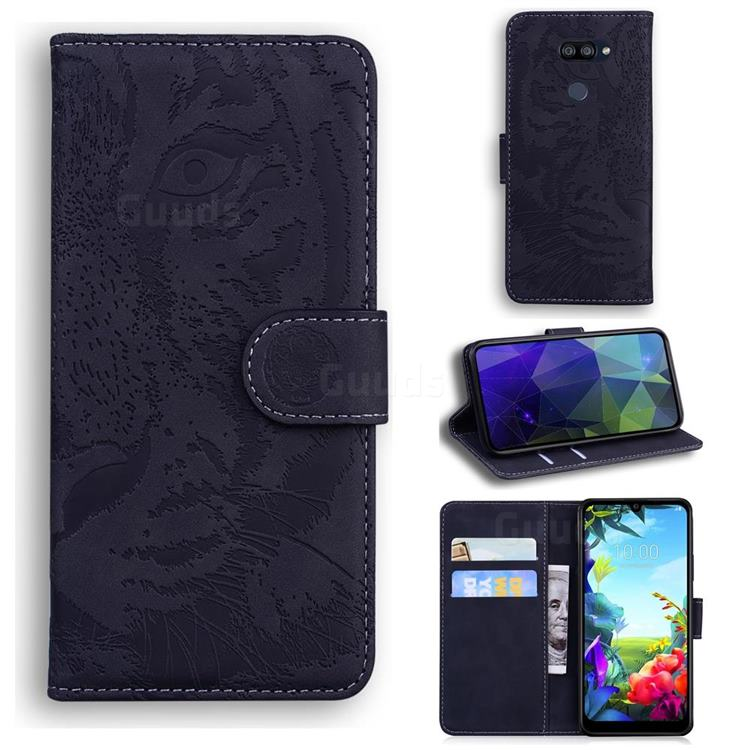 Intricate Embossing Tiger Face Leather Wallet Case for LG K40S - Black