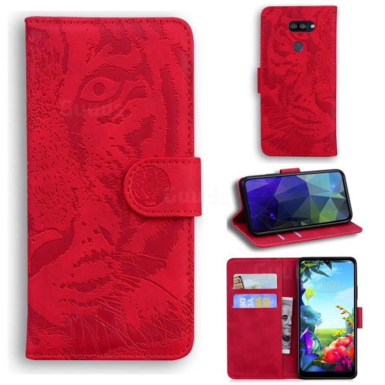 Intricate Embossing Tiger Face Leather Wallet Case for LG K40S - Red