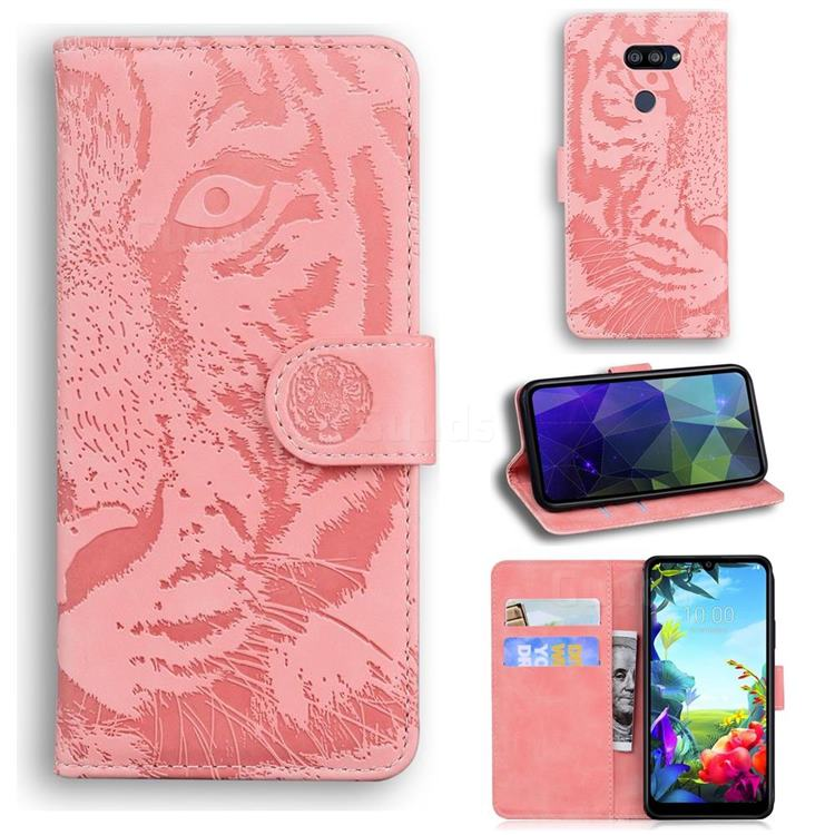 Intricate Embossing Tiger Face Leather Wallet Case for LG K40S - Pink