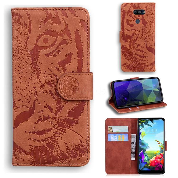Intricate Embossing Tiger Face Leather Wallet Case for LG K40S - Brown
