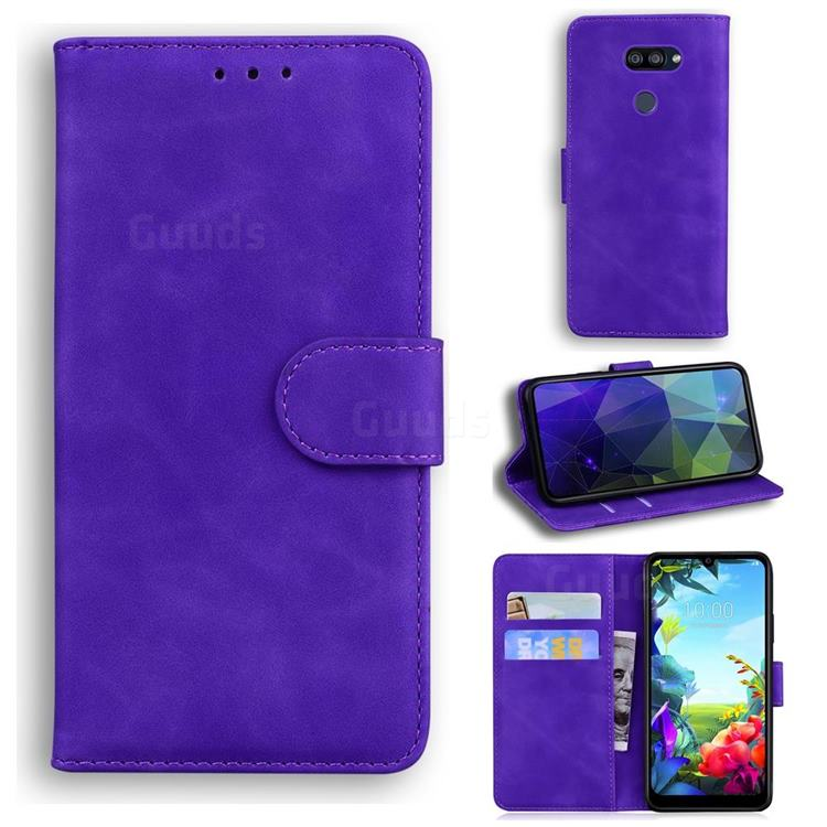 Retro Classic Skin Feel Leather Wallet Phone Case for LG K40S - Purple