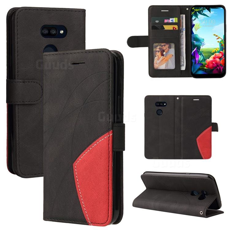 Luxury Two-color Stitching Leather Wallet Case Cover for LG K40S - Black
