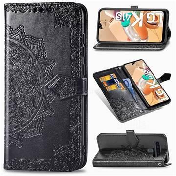 Embossing Imprint Mandala Flower Leather Wallet Case for LG K41S - Black