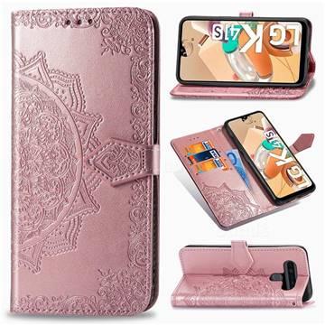 Embossing Imprint Mandala Flower Leather Wallet Case for LG K41S - Rose Gold