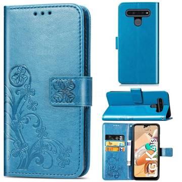 Embossing Imprint Four-Leaf Clover Leather Wallet Case for LG K41S - Blue