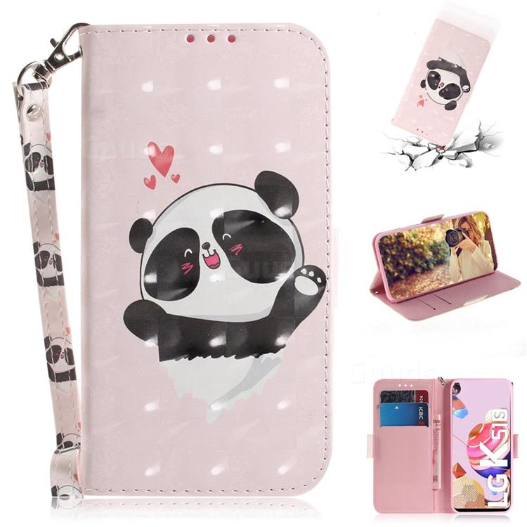 Heart Cat 3D Painted Leather Wallet Phone Case for LG K41S